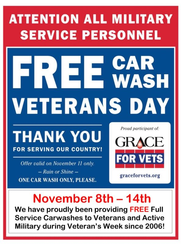 Free Car Wash for Veteran's and Active Duty Military